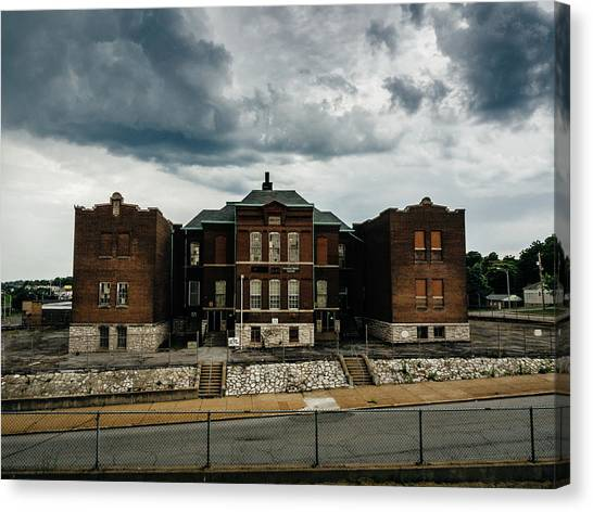 Old Abandoned School And Stormy Skies Canvas Print by Dylan Murphy