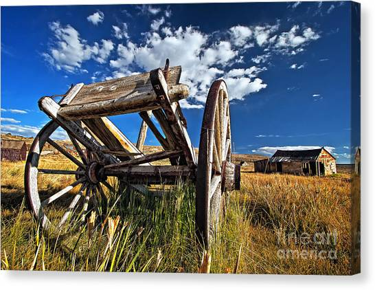 Old Abandoned Wagon, Bodie Ghost Town, California Canvas Print