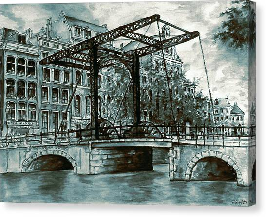 Old Amsterdam Bridge In Dutch Blue Water Colors Canvas Print