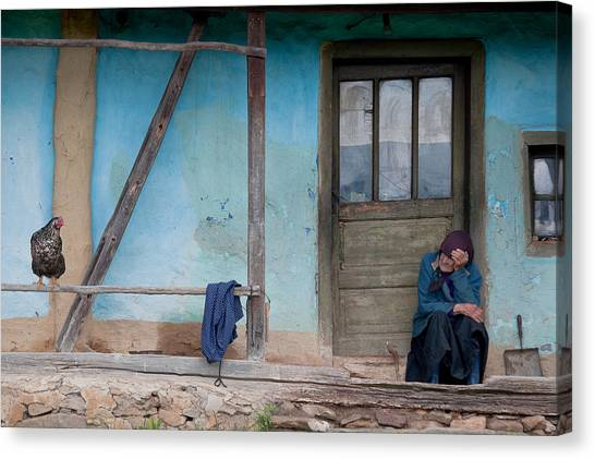 House Canvas Print - Old And Blue by Codruta Georgescu