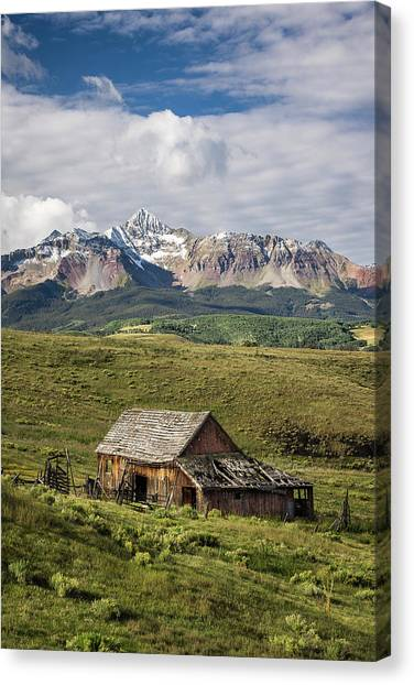 Old Barn And Wilson Peak Vertical Canvas Print