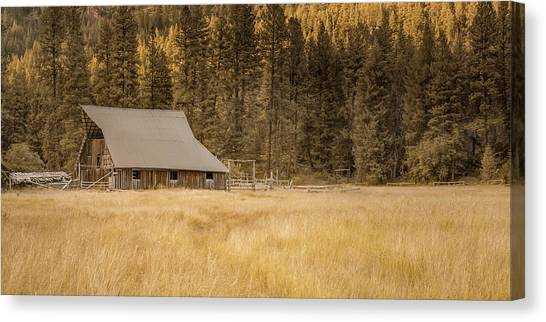 Brown Ranch Trail Canvas Print - Old Barn At Red's by Don Schwartz