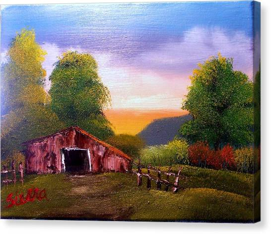 Old Barn In The Meadow Canvas Print by Dina Sierra