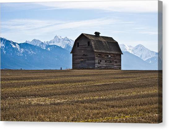 Old Barn, Mission Mountains 2 Canvas Print