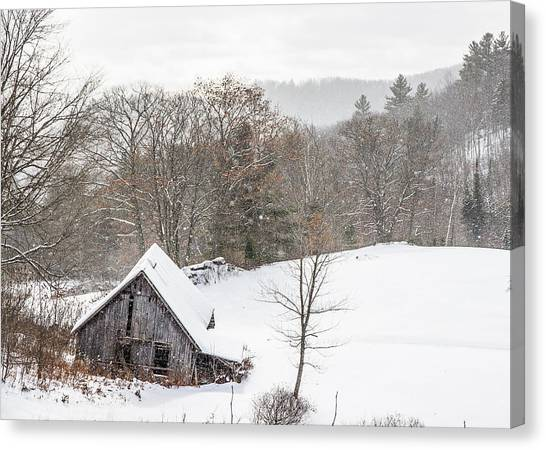 Old Barn On A Winter Day Wide View Canvas Print