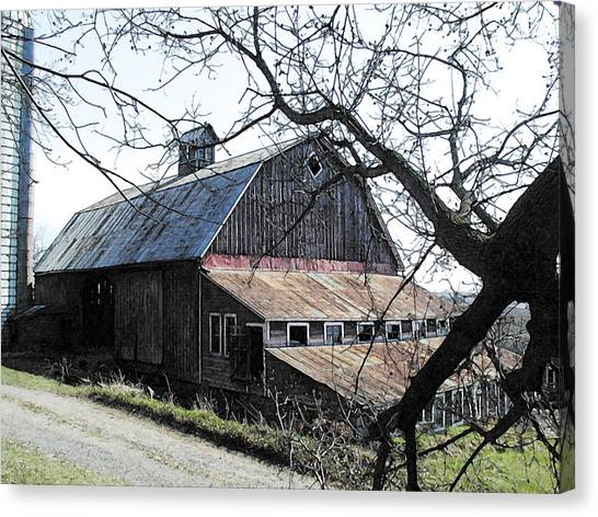 Old Barn With Tree Watercolor Canvas Print by Laurie With
