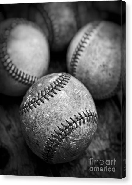 Canvas Print featuring the photograph Old Baseballs In Black And White by Edward Fielding