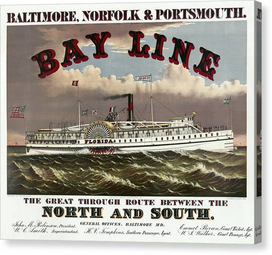 South Baltimore Canvas Print - Old Bay Line Of Baltimore  1877 by Daniel Hagerman