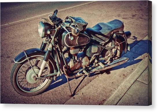 Old Beamer Motorcycle Canvas Print