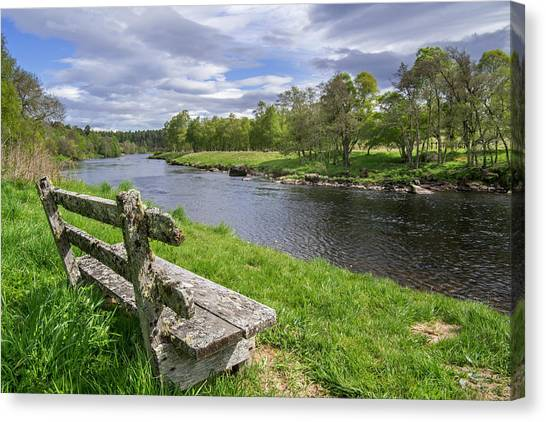 Old Bench Along Spey River, Scotland Canvas Print