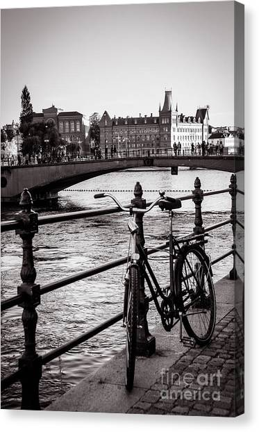 Old Bicycle In Central Stockholm Canvas Print