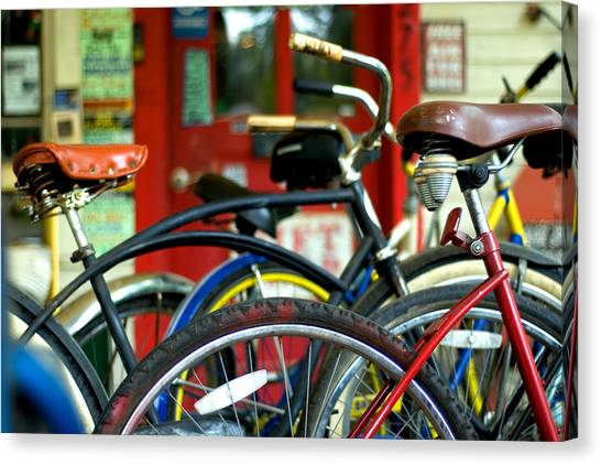 Old Bikes Canvas Print by John Gusky