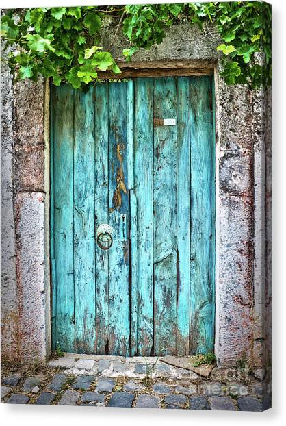Turkish Canvas Print - Old Blue Door by Delphimages Photo Creations