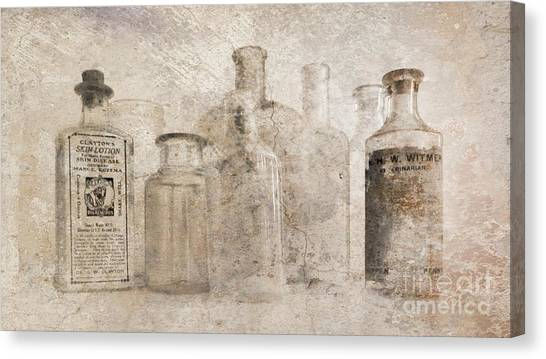 Old Bottles With Texture Canvas Print