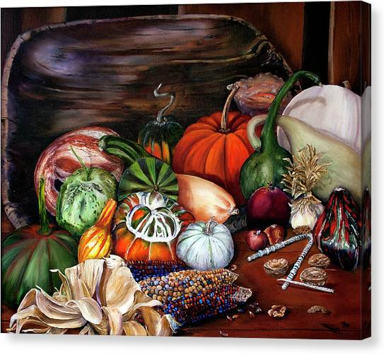 Old Bowl Cornucopia Canvas Print
