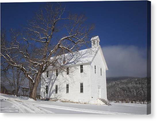 Old Boxley Community Building And Church In Winter Canvas Print
