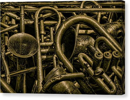 Old Brass Musical Instruments Canvas Print