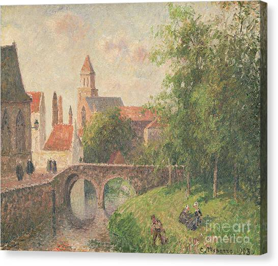 Town Canvas Print - Old Bridge In Bruges  by Camille Pissarro