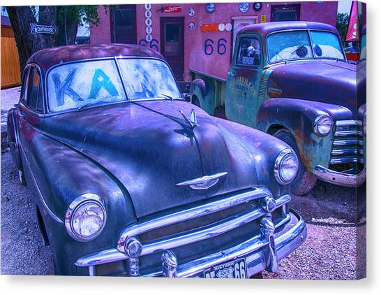 Junk Canvas Print - Old Car And Pickup Route 66 by Garry Gay