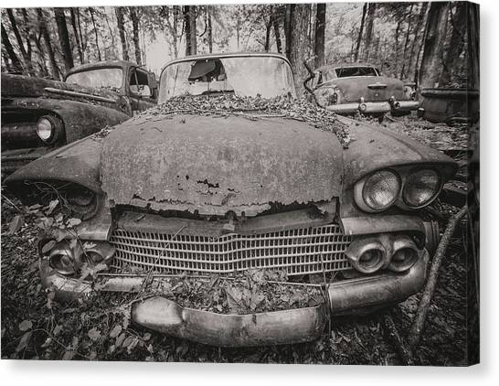 Old Car City In Black And White Canvas Print