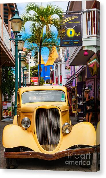 Old Car On Old Street Canvas Print