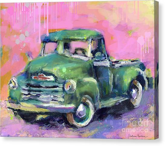 Ford Truck Canvas Print - Old Chevy Chevrolet Pickup Truck On A Street by Svetlana Novikova