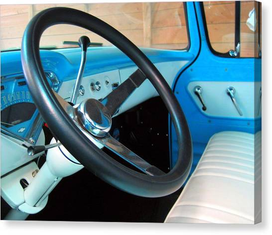 Old Chevy Steering Wheel Canvas Print