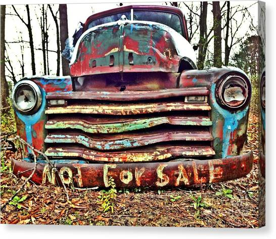 Canvas Print featuring the photograph Old Chevy Truck With Graffiti by T Lowry Wilson