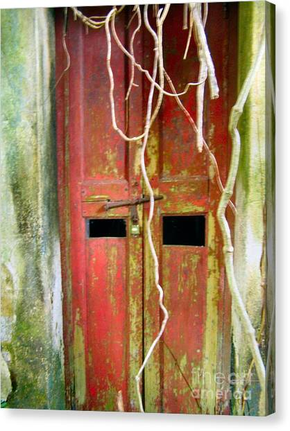 Old Chinese Village Door Eleven Canvas Print by Kathy Daxon