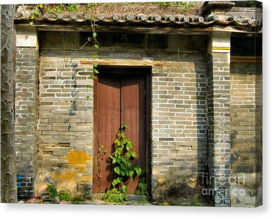 Old Chinese Village Door Series Sixteen Canvas Print by Kathy Daxon