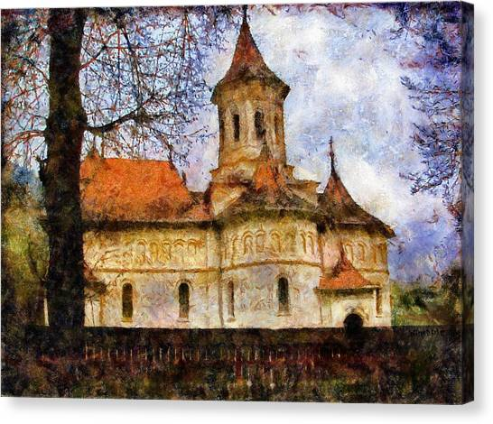 Old Church With Red Roof Canvas Print