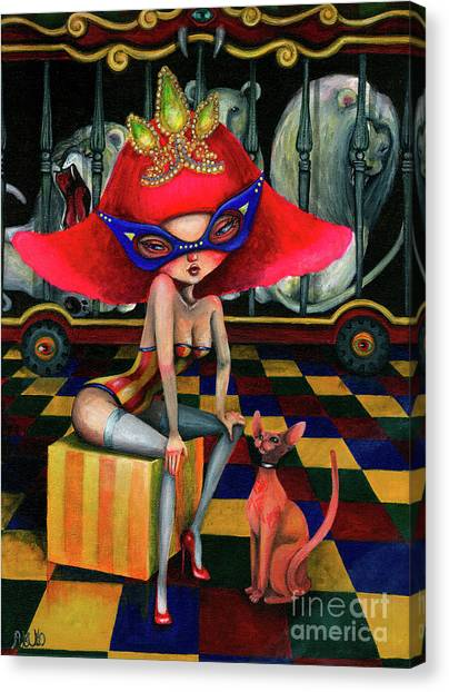 Sphynx Cats Canvas Print - Old Circus by Akiko Okabe