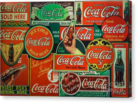 Old Coca-cola Sign Collage Canvas Print
