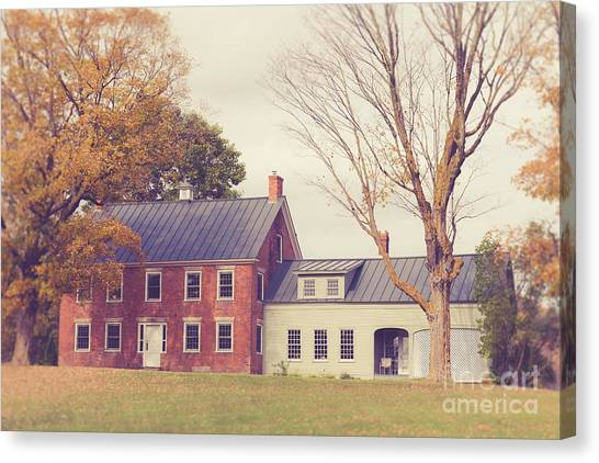 Brick House Canvas Print - Old Colonial Farm House Vermont by Edward Fielding