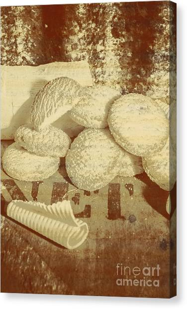 Biscuits Canvas Print - Old Cookie Tin Sign Art by Jorgo Photography - Wall Art Gallery