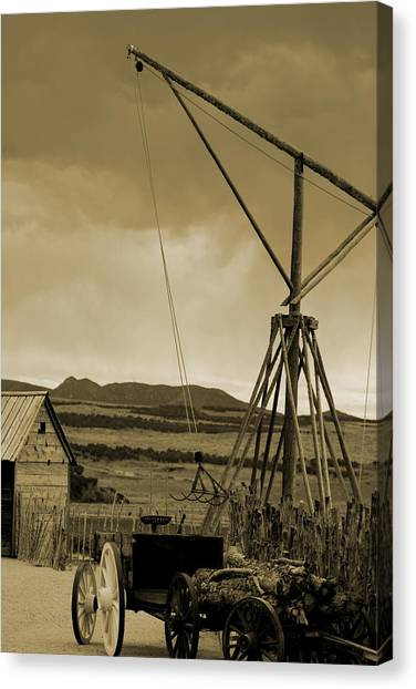 Old Crane And Shed Utah Countryside In Sepia Canvas Print