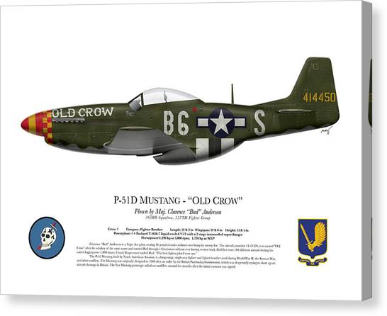United States Army Air Corps Canvas Print - Old Crow - P-51 D Mustang by Ed Jackson