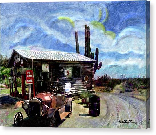 Old Desert Gas Station Canvas Print