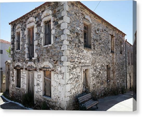 Old Deserted Village House In Greece Canvas Print by Al Poullis