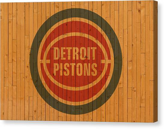 Detroit Pistons Canvas Print - Old Detroit Pistons Basketball Gym Floor by Design Turnpike