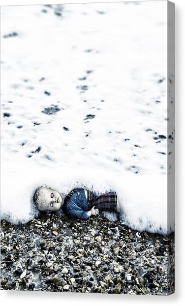 Drown Canvas Print - Old Doll On The Beach by Joana Kruse