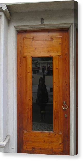 Detail Canvas Print - old door in Lisbon with my reflection by Anamarija Marinovic