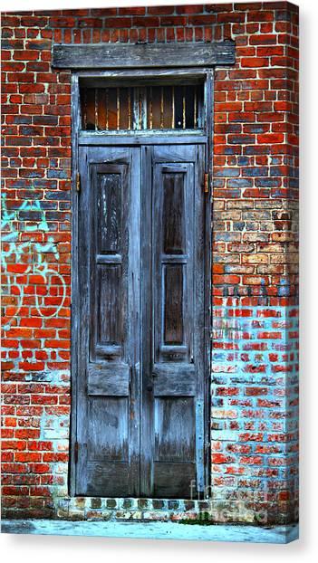 Old Door With Bricks Canvas Print
