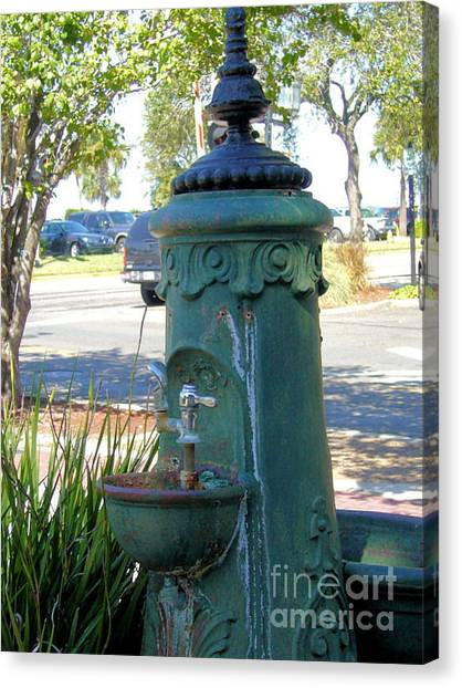 Old Drinking Fountain Canvas Print by Barbara Oberholtzer