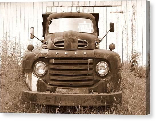 Old F1 Sepia Ford Canvas Print by Dennis Morgan