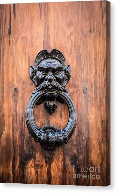 Rome Canvas Print - Old Face Door Knocker by Edward Fielding
