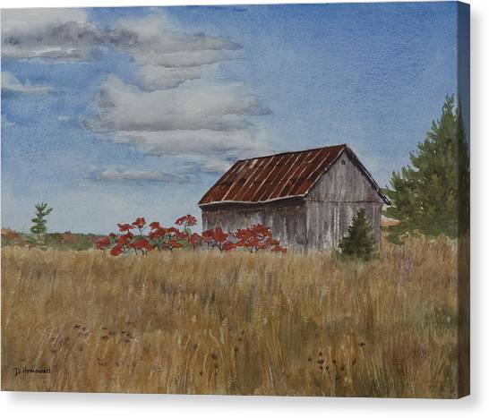 Old Farmer's Barn Canvas Print by Debbie Homewood