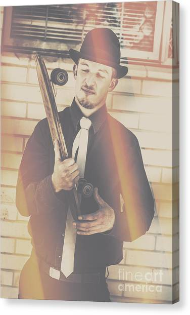 Skateboarding Canvas Print - Old Fashion Gent With Skateboard Deck by Jorgo Photography - Wall Art Gallery