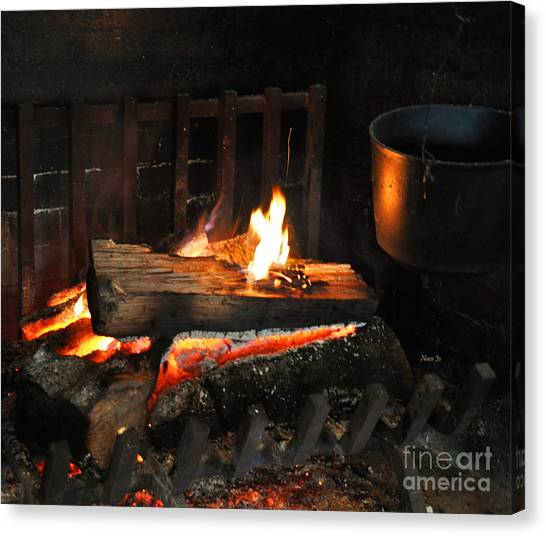 Old Fashioned Fireplace Canvas Print