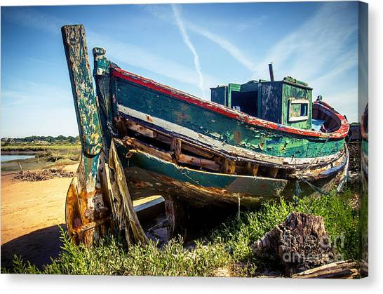 Fishing Poles Canvas Print - Old Fishing Boat by Carlos Caetano